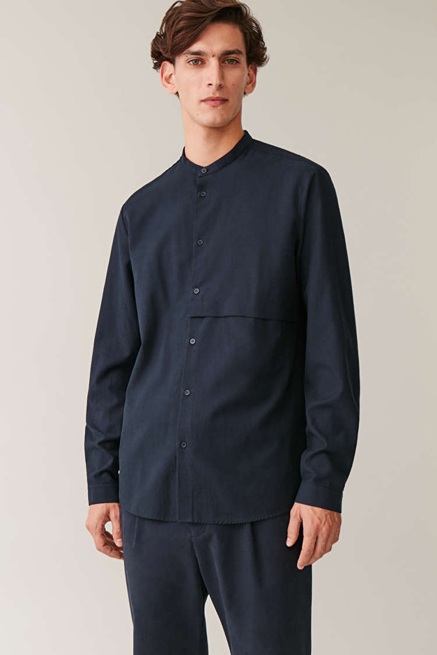 GRANDAD SHIRT WITH POCKET - Navy - Collarless shirts - COS