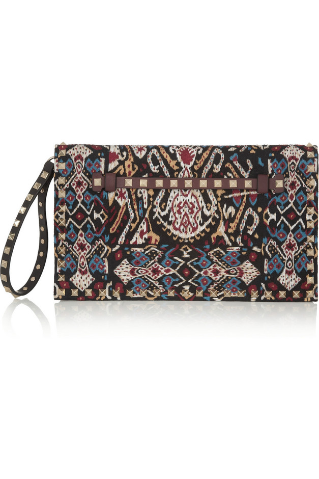 Valentino|The Rockstud embroidered leather clutch |NET-A-PORTER.COM