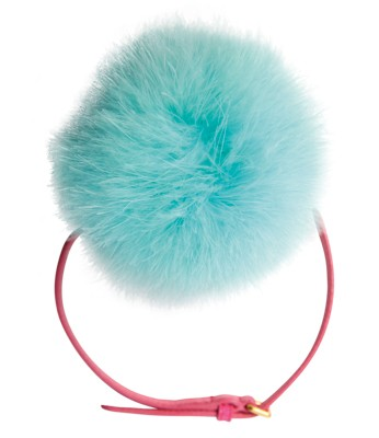 Fur pom-pom choker with leather strap, $410, by Miu Miu. - Pretty Little Thing