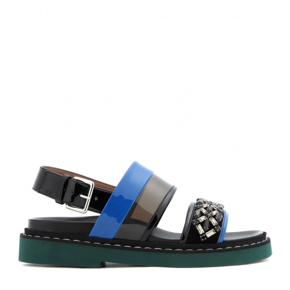 mytheresa.com - Embellished patent leather sandals - Flat - Sandals - Shoes - Marni - Luxury Fashion for Women / Designer clothing, shoes, bags