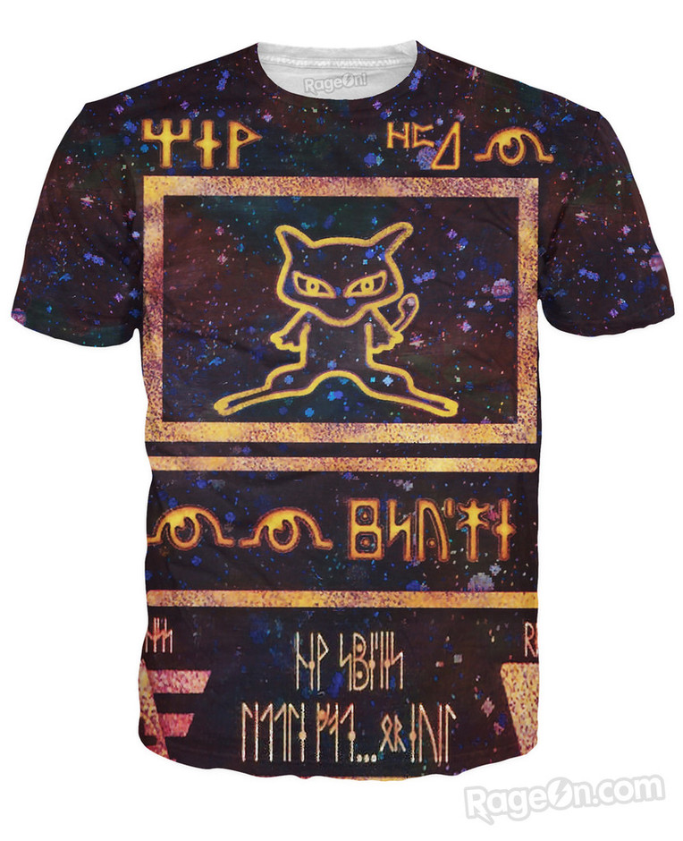 Rage On! All Over Print Black Ancient Mew Pokemon Card T-Shirt - Rage On! - The World's Largest All-Over Print Online Retailer