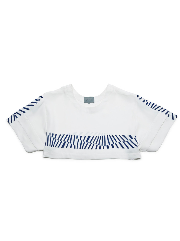 White / Navy Cropped T-Shirt   MAIYET