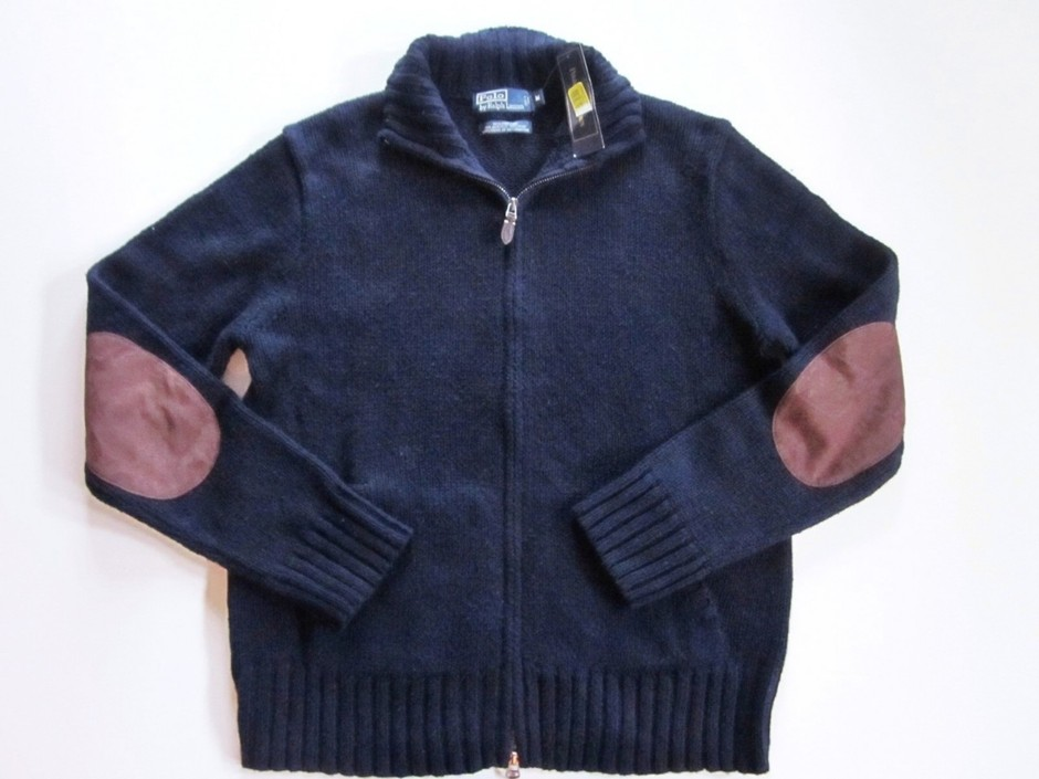 RALPH LAUREN POLO navy full zip suede elbow patch cardigan sweater M