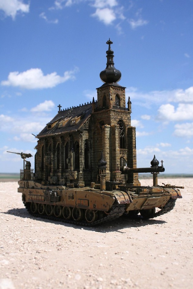 Meticulously Detailed Sculptures of Churches as Tanks - My Modern Metropolis