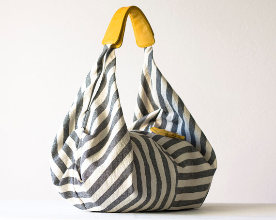 Kallia in Striped canvas and Yellow leather details by milloo