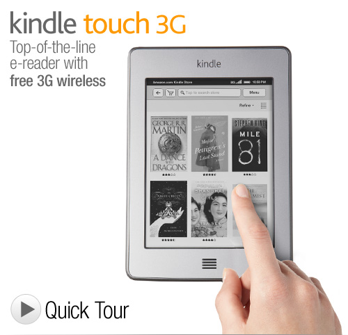 """Kindle Touch 3G: Touchscreen e-Reader with Free 3G + Wi-Fi, 6"""" E Ink Display, 3G Works Globally"""