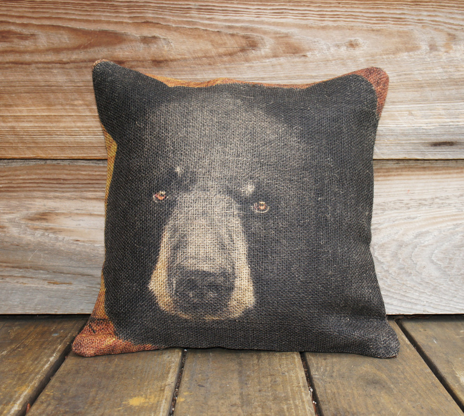 Burlap Pillow Cover of Black Bear Throw Pillow by TheWatsonShop