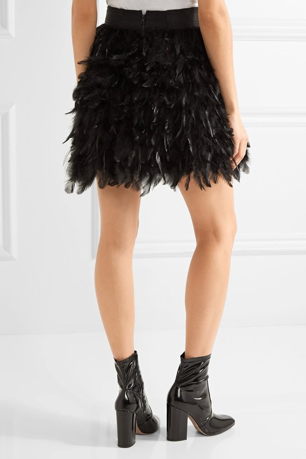 Alice + Olivia | Cina feather-embellished tulle mini skirt | NET-A-PORTER.COM