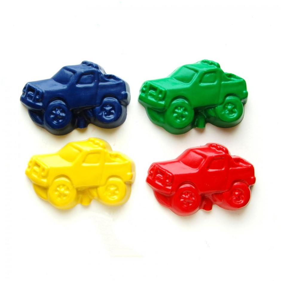 Monster Truck Party Favors - Package Of 12 Monster Truck Shaped Crayons on Luulla