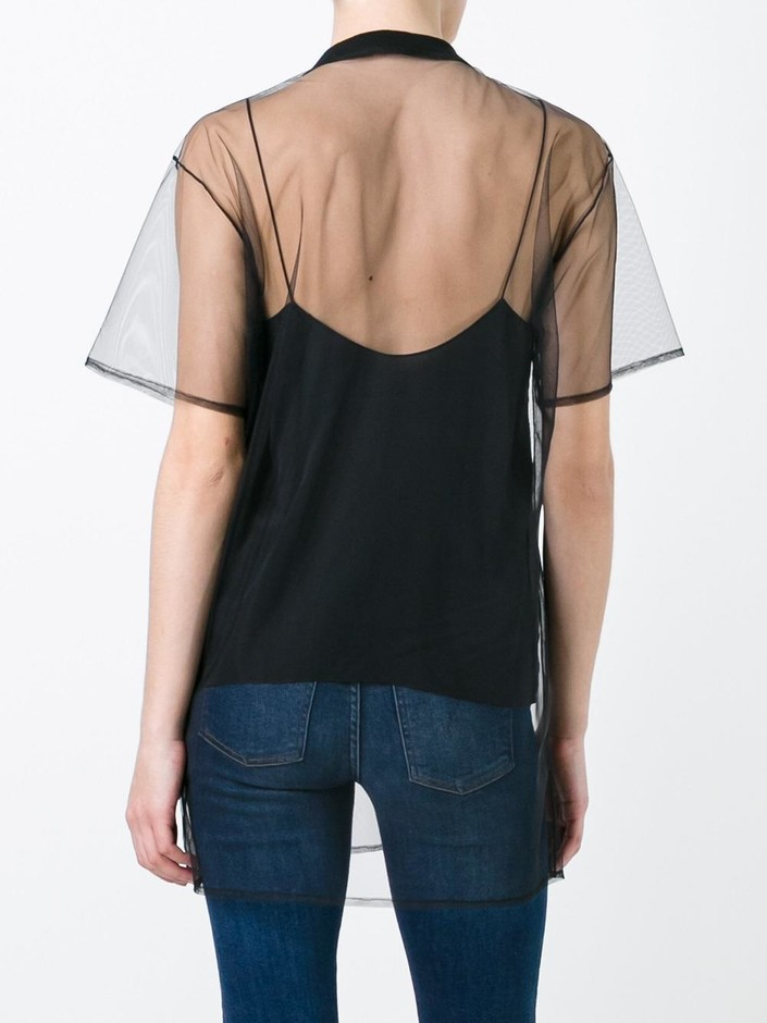 Au Jour Le Jour Heart Patch Sheer T-shirt - Di Pierro - Farfetch.com
