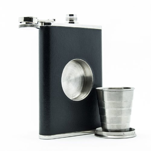 The Original Shot Flask - 8oz Hip Flask with Built-in Collapsible Shot Glass: Amazon.com: Kitchen & Dining