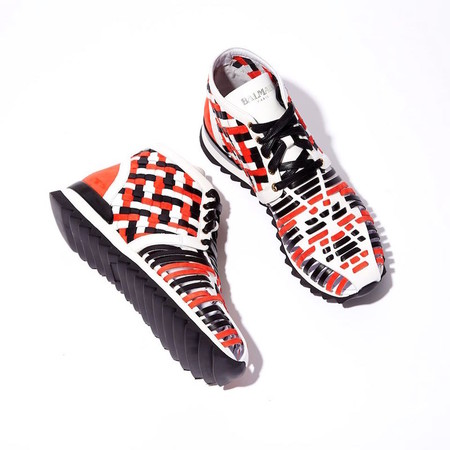 Balmain Mawi Braided-leather High-top Trainers
