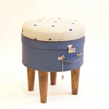 Hatbox Ottoman – Blue Dot – Seating – Recreate