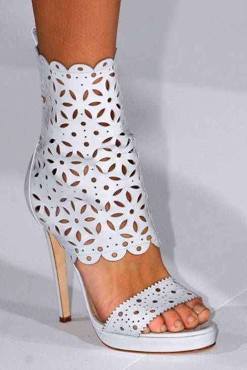 Shoes / Oscar de la Renta - Spring 2013 lovely eyelet booties!