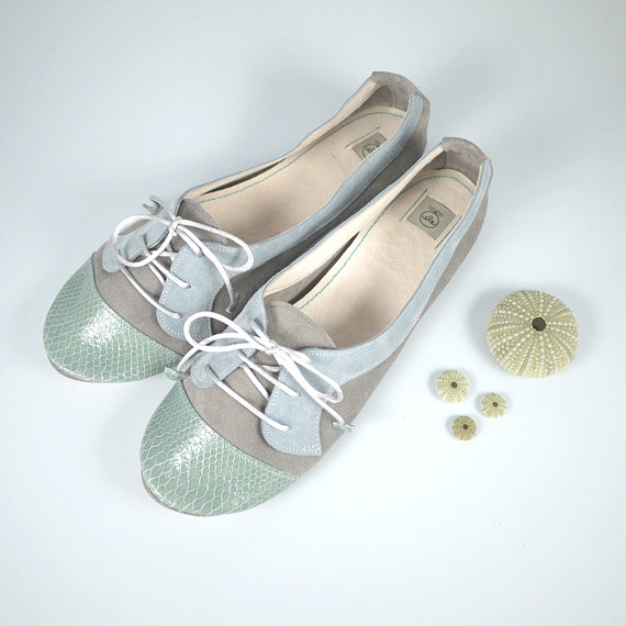 The Sofia Oxfords in Aqua Green Gray and Ash  Cute by elehandmade