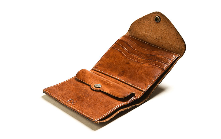 RRL/Conch Leather Wallet-Dark Brown