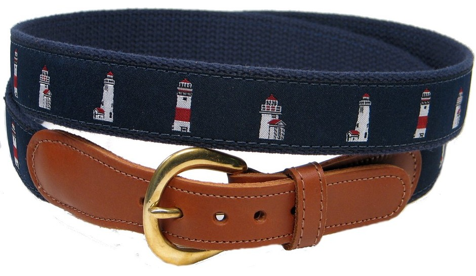 Preston Leather Lighthouse Belt Blue 30 at Amazon Men's Clothing store: Apparel Belts