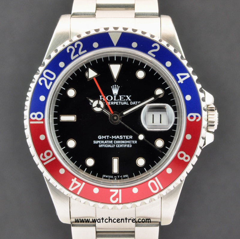 Rolex S/S Oyster Perpetual Black Dial GMT-Master 16700   Archives   Watch Centre
