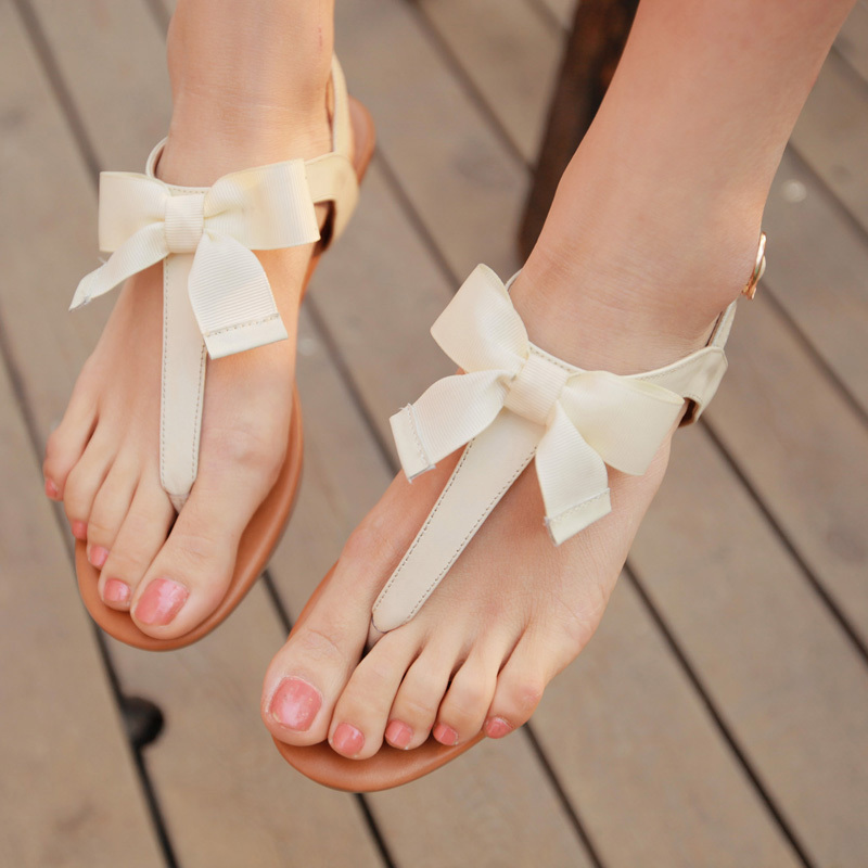 The KBAO Japan and South Korea Summer bow new leather flat with toe clip cool ... from Bendantwo share in a heap of sugar Network