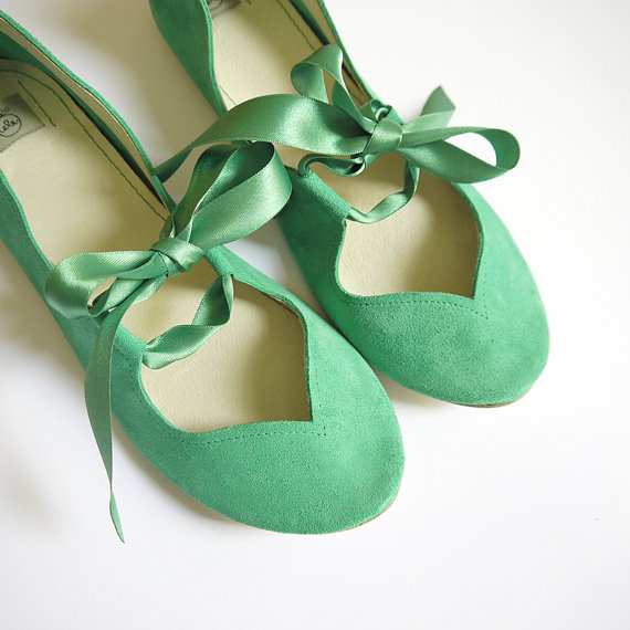 Heart Shaped Soft Mint Green Handmade Ballet Flats by elehandmade