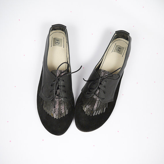 The Fringed Oxfords in Black Handmade Leather Flat by elehandmade