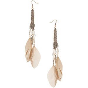 Beige feather drop earrings - Dorothy Perkins - Polyvore