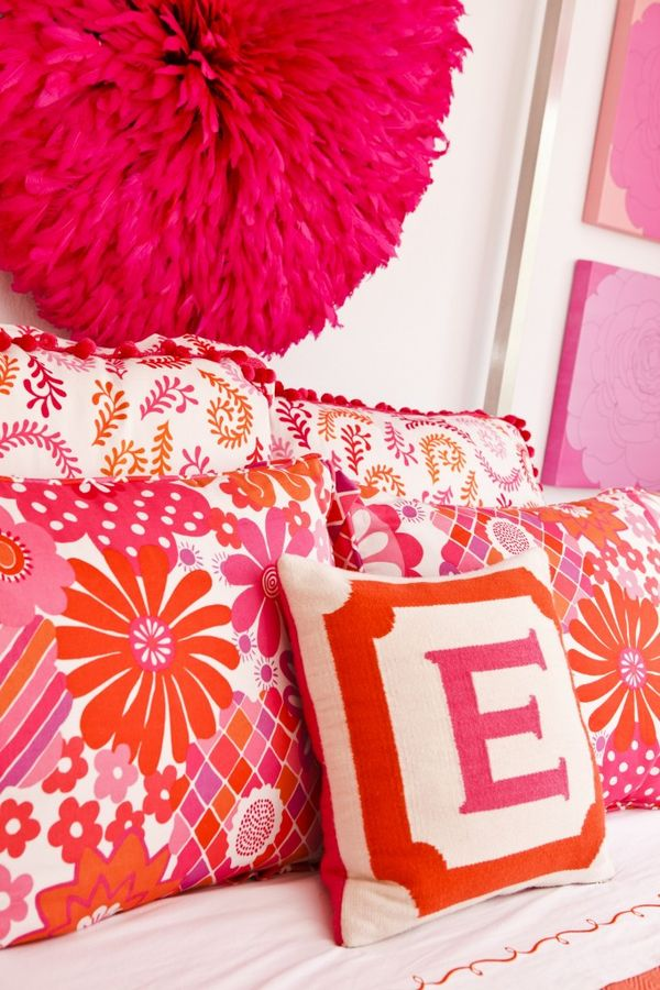 Hot Pink Nursery / What a statement this giant, fluffy flower makes on the wall of this room #hotpink