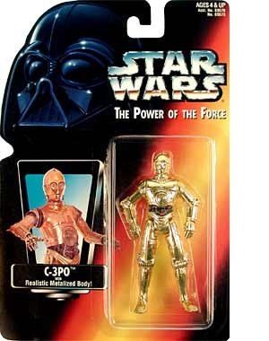 """Amazon.com: Star Wars Power of the Force Red Card 3 3/4"""" C-3PO Action Figure.: Toys & Games"""