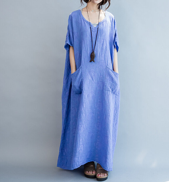 Cotton Loose Fitting Maxi Dress oversized loose Short by MaLieb