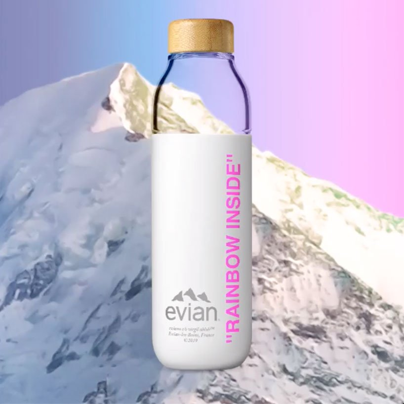 evian launches reusable water bottle collaboration with virgil abloh