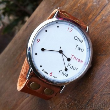 Funny White Dial Leather Watch|Retro Watches - New Style Watches|ByGoods.com
