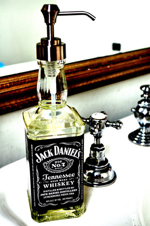 Recycled Jack Daniels soap dispenser