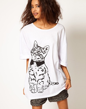 ASOS | ASOS Oversize T-Shirt with Sketchy Cat at ASOS