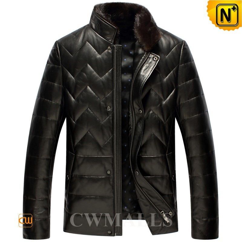 Quilted Leather Jacket with Down Filled CW846039