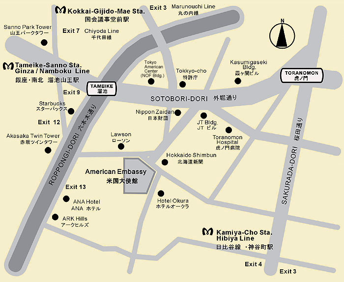 Map to the U.S. Embassy in Tokyo