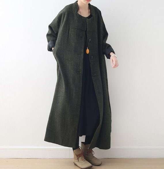 oversized wool overcoat for women maxi wool coat Women's | Etsy