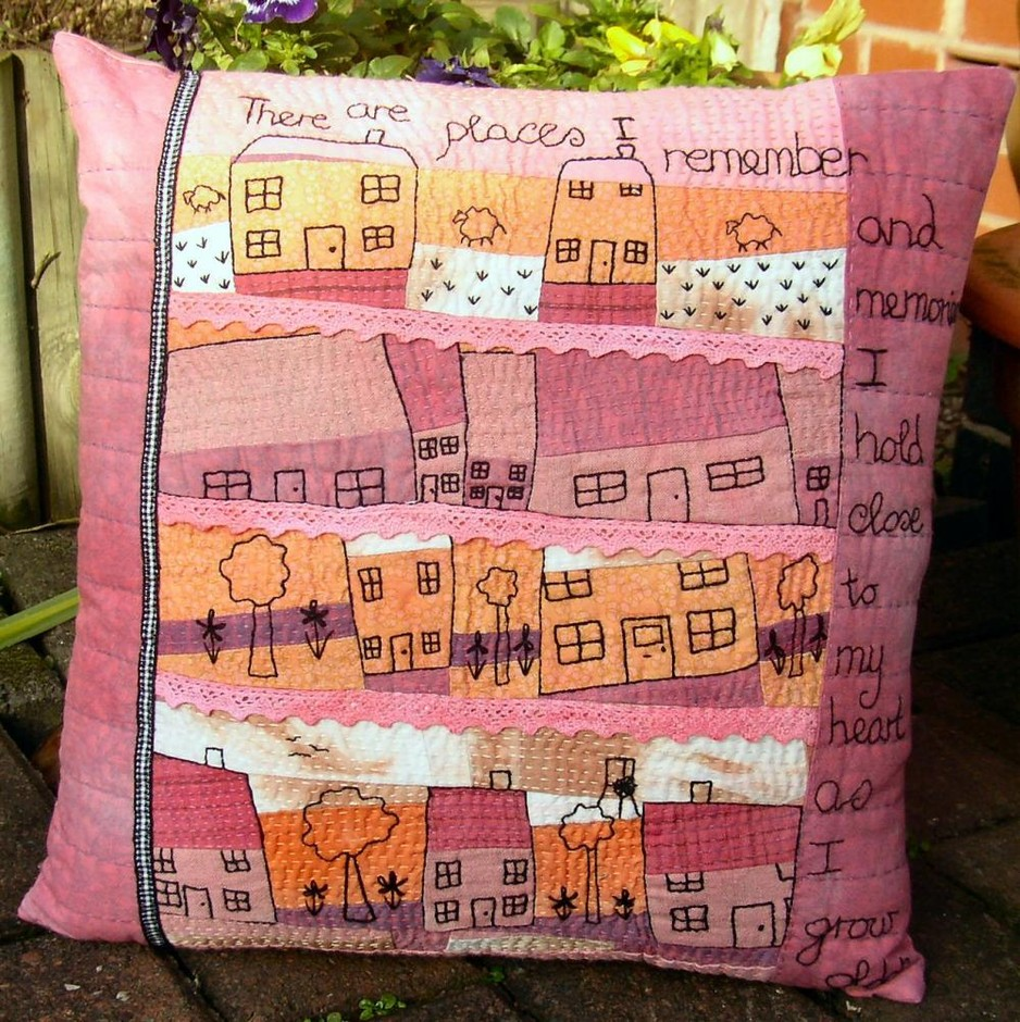 """Hand Embroidered Art Pillow. """"Our House""""   Luulla"""