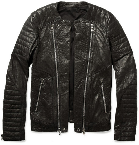 Balmain Zipped Padded Leather Biker Jacket | MR PORTER