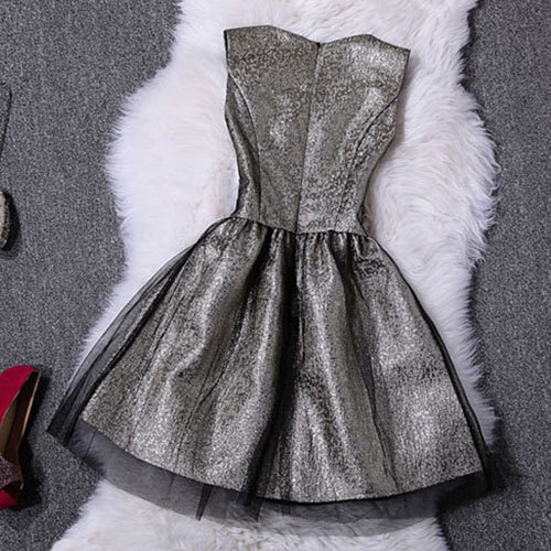 [grzxy6600999]Sleeveless Gold Sequins Bubble Skirt Tunic Dress for Prom Party Ball / wishlove