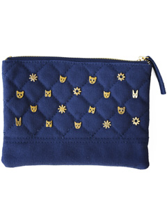 LOVE online store|WOMEN  Critter Studded Zip Case (navy)