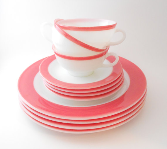 Pyrex Flamingo Pink Dishes 11 Piece Dinnerware by TheRetroStudio