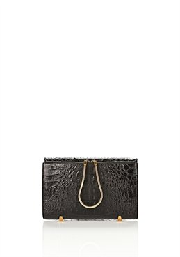 Black Chastity Clutch In Embossed Black With Yellow Gold - Alexander Wang