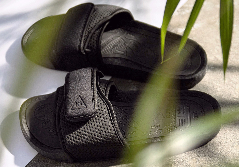 Pharrell Williams adidas BOOST Slides Black Orange | SneakerNews.com