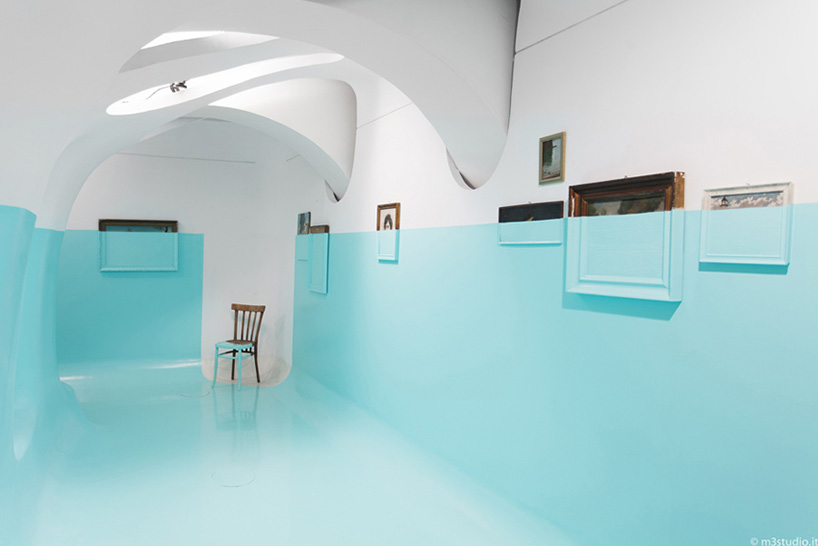 davide d'elia turns gallery interior into a ship hull with blue paint