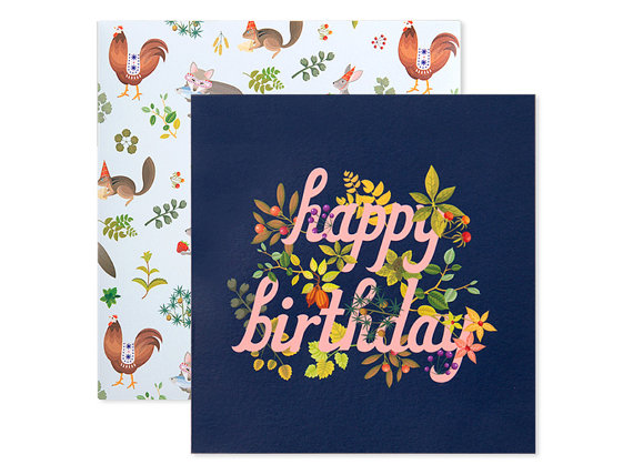 Botanic Birthday Card Navy by clapclapdesign on Etsy
