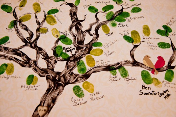 unique wedding guest book thumbprint tree art | OneWed