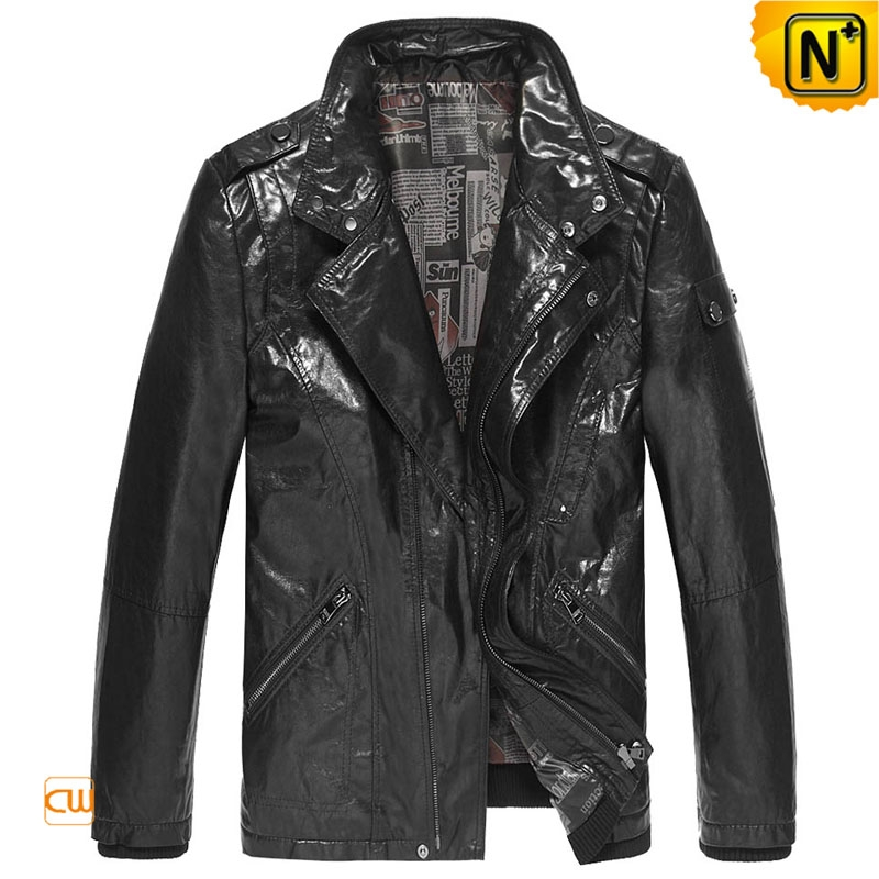 Mens Lambskin Leather Racer Motorcycle Jacket CW850252