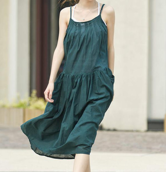 pleated Big pockets Put on a large gallus dress by MaLieb on Etsy