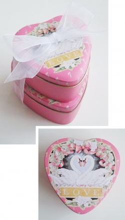 "Interior - 1980's ""ENESCO SWAN LOVE"" Heart Shaped Metal Tins【2点set】 - Little ♥ Hideaway 〜ヴィンテージから現代まで〜 Candy Hearts♡USA & UK 輸入雑貨"