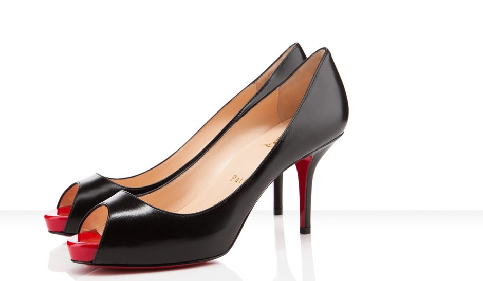 Christian Louboutin - Mater claude leather black red platform shoes
